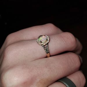 Le Vain Rose Gold, Diamond, and Opal Ring